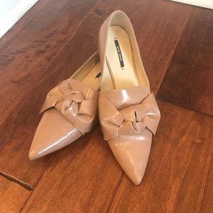 Zara Patent Nude Bow Pointy toe Flats 41